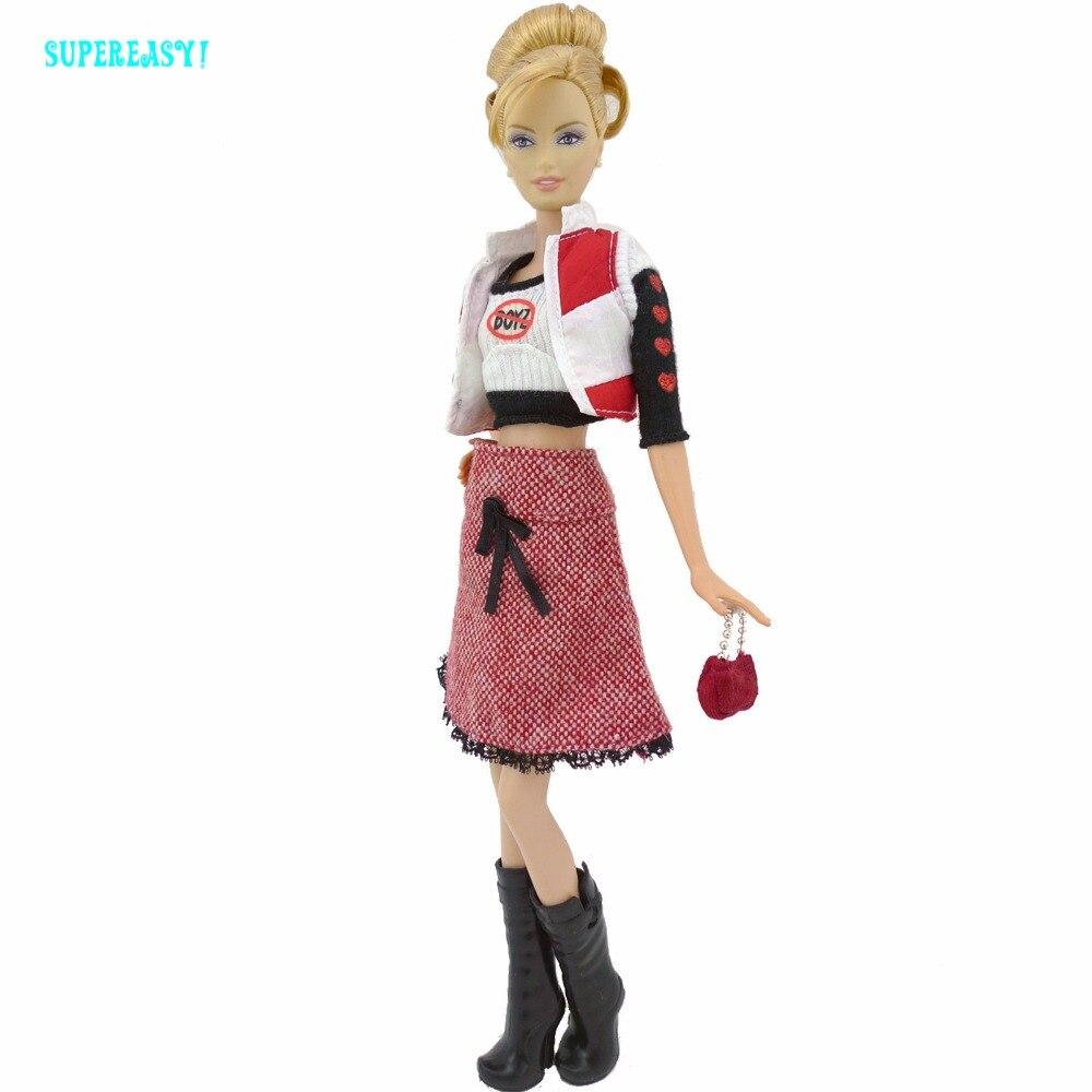 Осень-зима модная одежда жилет одежда с длинным рукавом рубашка шерстяная юбка Сапоги и ботинки для девочек Обувь Одежда для Барби FR Кукла И...