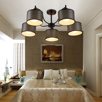 Black Vintage Ceiling Lights Wrought Iron Living Room Ceiling Lamp Restaurant Leather Shade E27 Bulb For