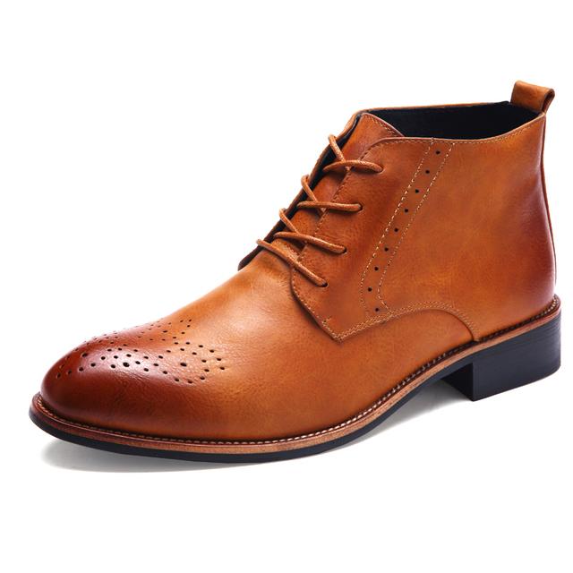 Hot 2016 Sapatas Dos Homens de Moda Outono Inverno Ankle Boots Homens Brogue Sapatos confortáveis Homens Casual Masculino Martin Botas Botas Chelsea homens