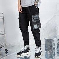 Men's Big Pockets Harem Pants 2019 Hip Hop Casual Joggers Trousers Male Fashion Patchwork Streetwear Pant Black WA104
