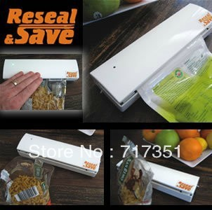 Reseal And Save handy Plastic Food Saver Storage Bag Sealer Keep food fresh & reduce waste vacuum packer free shipping T1041
