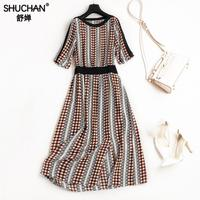 SHUCHAN 100 Real Silk Dress 2018 Women Summer Vintage A Line Printing Dresses Short Sleeves Vintage