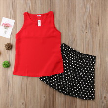Emmababy Hot Sale 2PCS Outfits Set Girls Clothes arrival Cute Solid Sleeveless Tops and Polka Dot Skirt Skirts