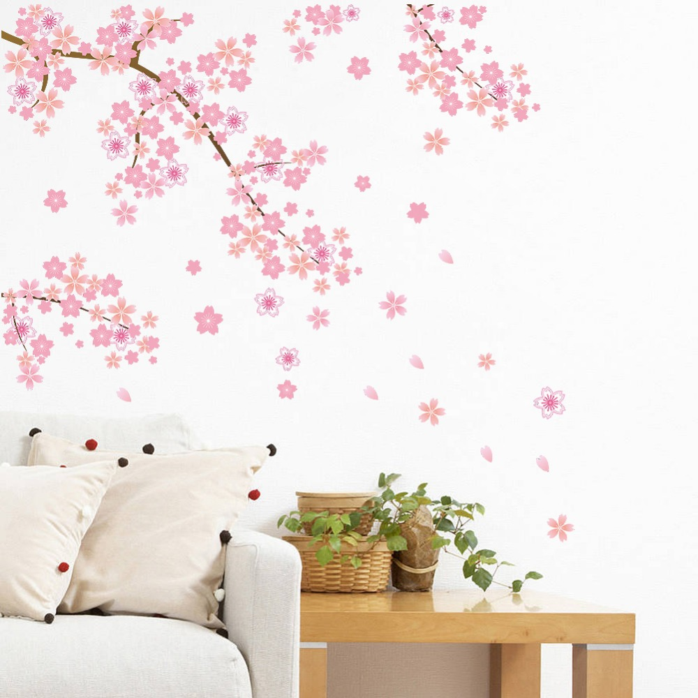 Pink Flying Flower Sakura Cherry Blossoms Backdrop Living Room Decoration Wallpaper Sticker Decal Removable Home Decor 50x70cm In Wall Stickers From