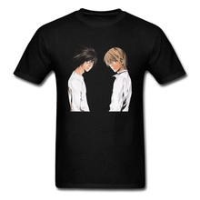 Death Note Character Anime Print Fashion Men's Black T-shirt 100% Cotton Cool Short Sleeve Tops & Tees Custom Design