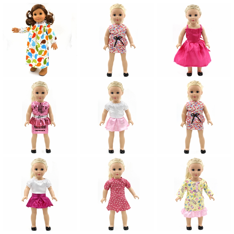 Handmade 18 inch American Girl Doll Clothes 15 Style Multi Color Skirt Suit Fits 18 American Girl Doll D-7 american girl doll clothes 4 styles elsa blue lace princess dress doll clothes for 16 18 inch dolls baby doll accessories x 2