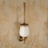 AUSWIND Antique soild brass bronze Toilet brush holder with ceramics cup brush carving base wall mount bathroom accessories