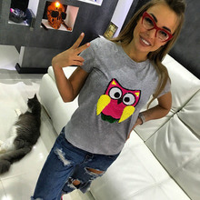 NiceMix 2019 Female t-shirt Harajuku Kawaii Owl Sequined Cotton t shirt women S-L Short Sleeves O-neck tshirt Casual Tops Summer