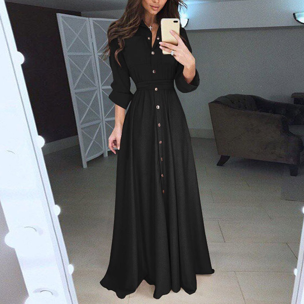 skirt Womens Lady Casual Fashion Long Sleeve Lapel Maxi Long Dress Solid Dress sukienka vestido robe