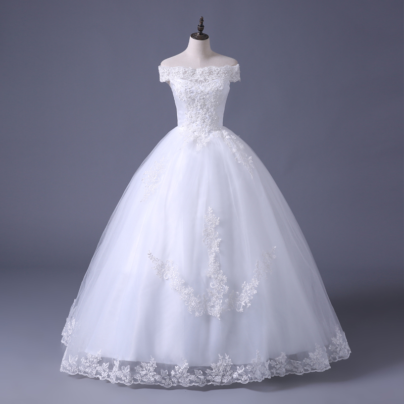 VENSANAC 2017 Free Shipping New A Line Lace Sweetheart Short Sleeve White Satin Bridal Wedding Dress Wedding Gown 30217 2