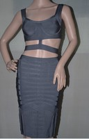 Free Shipping 2015 New Arrival High Quality Grey Two Piece Sets Bandage Dress Party Prom Dress