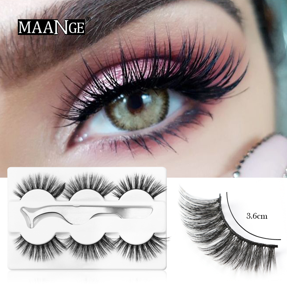 32481fc449a 3pairs Faux 3D Mink Hair False Eyelashes 100% Cruelty free lashes  Natural/Thick Long; 3pairs ...