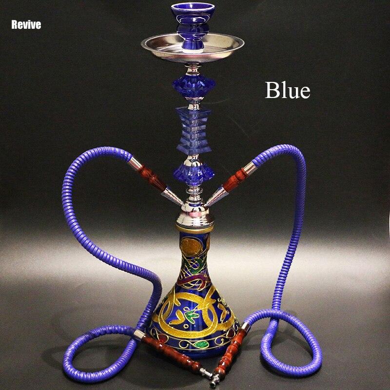 Relancer 4 couleur options narguilé narguilé ensemble complet chicha 2 tuyaux flexibles en verre narguilé bol en céramique 51 cm shisha fumer d'eau tuyau