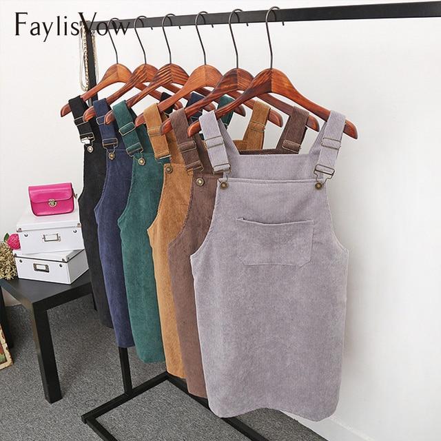 Женское платье на подтяжках сарафан свободный винтажный осенний вельветовый жилет платье повседневное без рукавов платье со шнуровкой