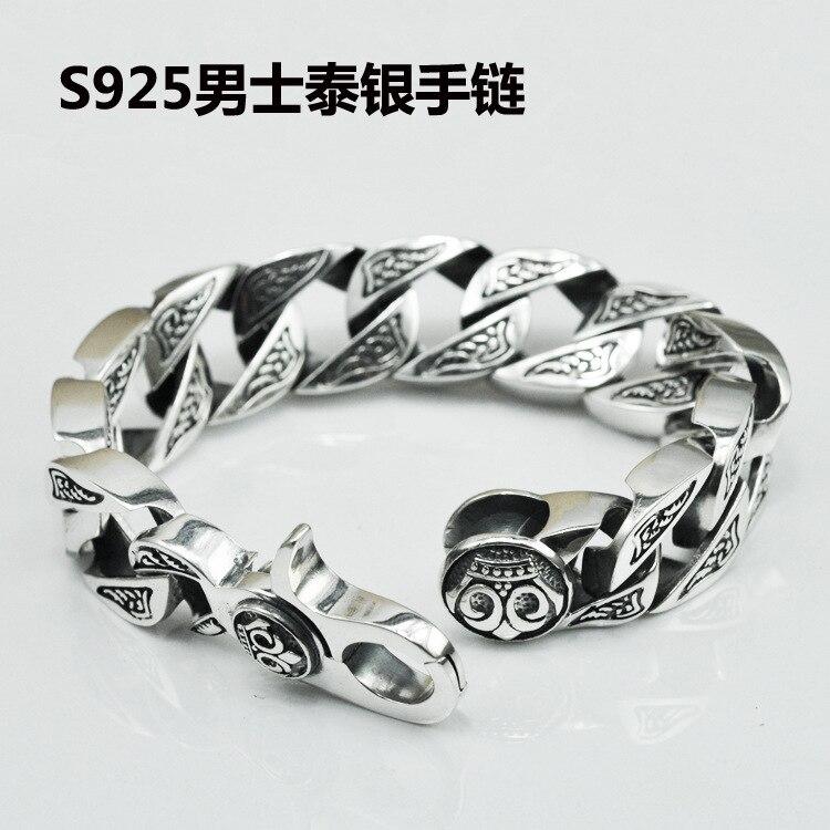 Тайский серебряный браслет мужской оригинальный ручной S925 стерлингов Серебряные ювелирные изделия Ретро властная Для мужчин браслет опто
