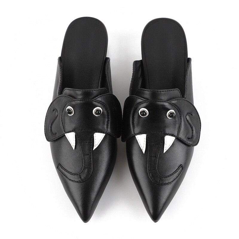 Di Medi Dolce Bello Vankaring Moda Tacchi Delle Vestito Scarpe Genuino Partito Cuoio Black Da Signore Donna gray Brand Design Sandali Slipper Modello Del pwptqz6