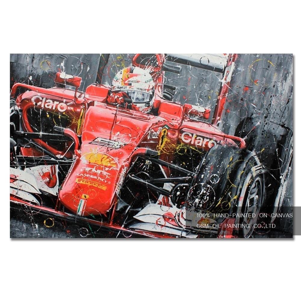 Топ навыки художник прямые поставки Высокое качество ручная роспись гоночный автомобиль картина маслом на холсте Абстрактная гонка картина маслом