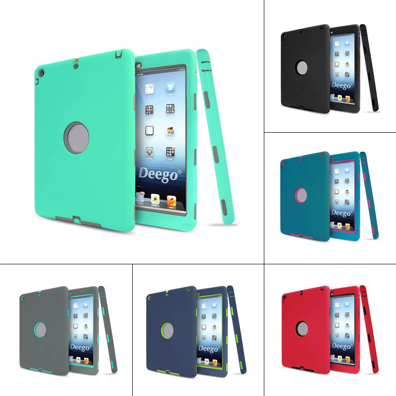 New 3in1 Hard PC and Silicone Soft High Impact Defender Hybrid Protective Case Cover For iPad Air 1 QJY99