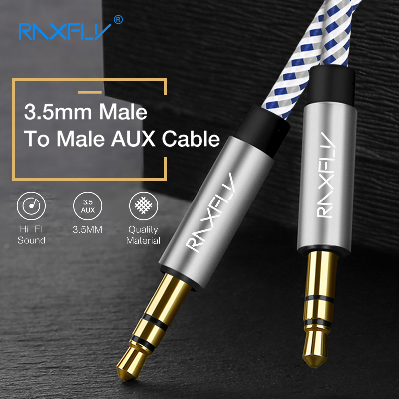 RAXFLY 3.5mm Jack Audio Cable Jack 3.5 mm Male to Male Gold Audio Aux Cable For iPhone Car Headphone Speaker Wire Line Aux Cord