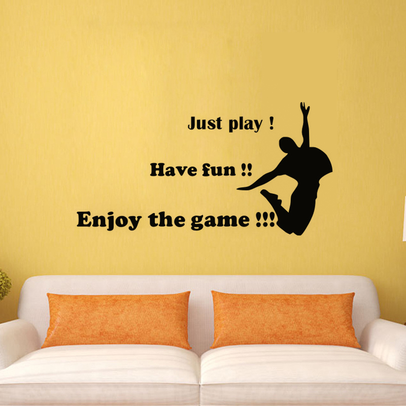 Just Play Have Fun Enjoy The Game Wall Stickers Dance DIY Wall ...