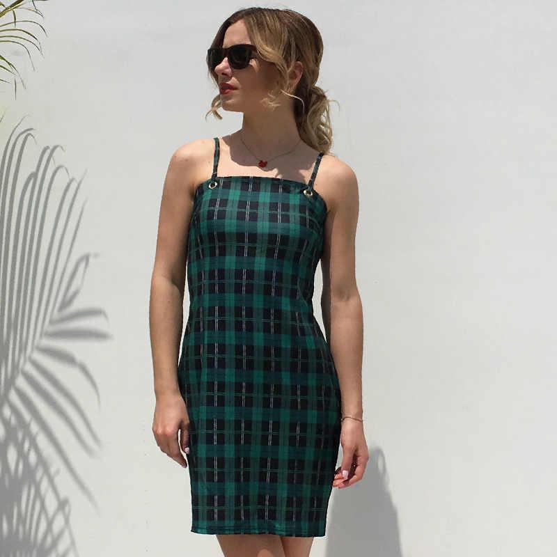 Лето 2019 женское винтажное мини-платье без рукавов пляжное клетчатое платье тонкая модная Уличная Повседневная Женская Короткие платья