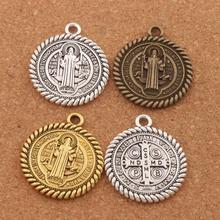 Saint St Benedict of Nursia Patron Against Evil Medal Charm Beads 6pcs Antique Silver/Gold/Bronze Pendants L1791 36x31mm