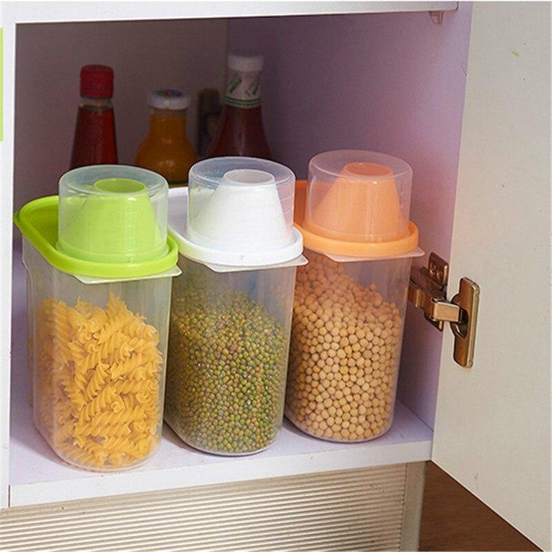 1PC Plastic Food Storage Lattices Sealed Crisper Grains Tank Storage Kitchen Sorting Food Storage Box Container 0D
