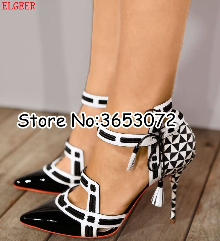 Pumps Shoes Sandals Lace-Up High-Heels Evening-Party Pointy-Toe Sexy Black White Women