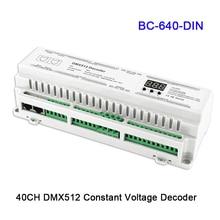 BC-624-DIN/BC-632-DIN/BC-640-DIN New 24/32/40 CH DMX512/8bit/16bit DC12V-24V RJ45 Connect LED RGB/RGBW Strip lamp Decoder