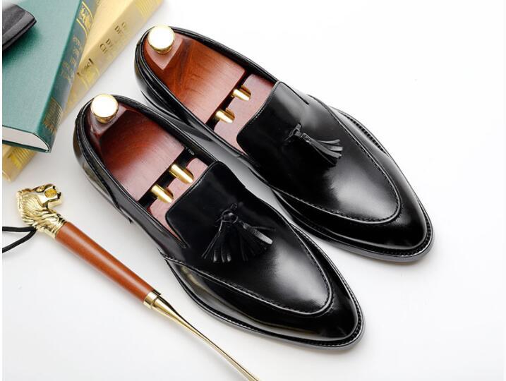 b1d593ef2f0 Chaude Noir Vente Hommes Mariage Véritable D affaires Bullock Black Costume  Marque Nouvelle Chaussures Cuir Gland En De brown Robe 5qFgFp