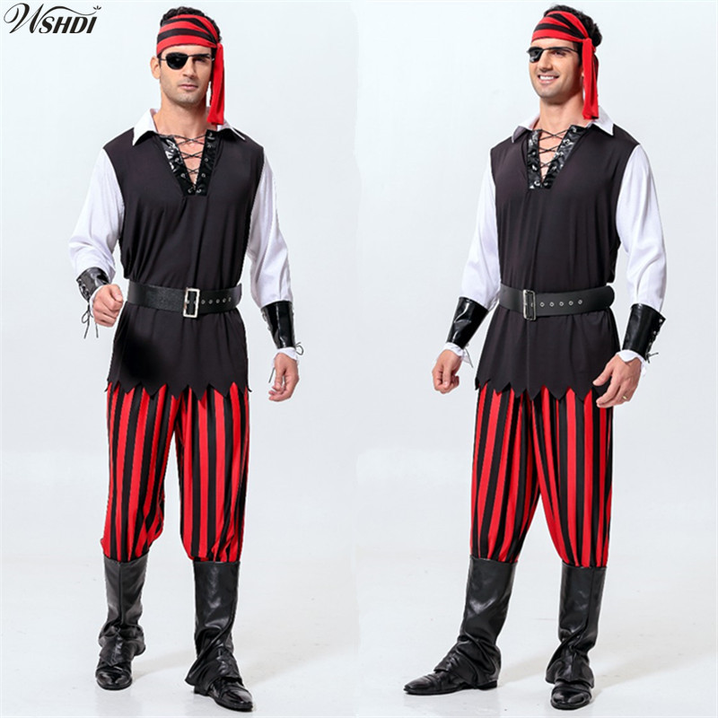 7Pcs Man Pirate Costumes Halloween Party Pirates of the Caribbean Cosplay Costumes Men Adult Uniforms Clothing Set