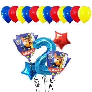 Image 3 - Lote de 17 unidades de Globos de aluminio de la patrulla canina, Globos de mano con dibujos animados de perro, Globos de cumpleaños, juguetes para niños, Globos con números de 32 pulgadas