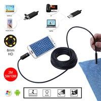 HD 8mm Lens 2m 5m 10m Golden Android Endoscope Inspection USB Snake Mini Waterproof USB Camera