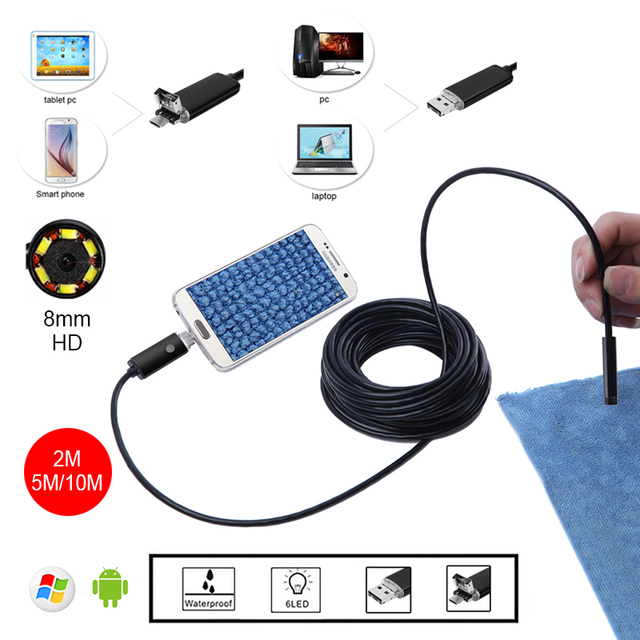 8mm HD 2m 5m 10m Golden USB Android Endoscope Inspection Tube Snake Mini Endoscopio Camera OTG IP67 Waterproof Android Endoskop