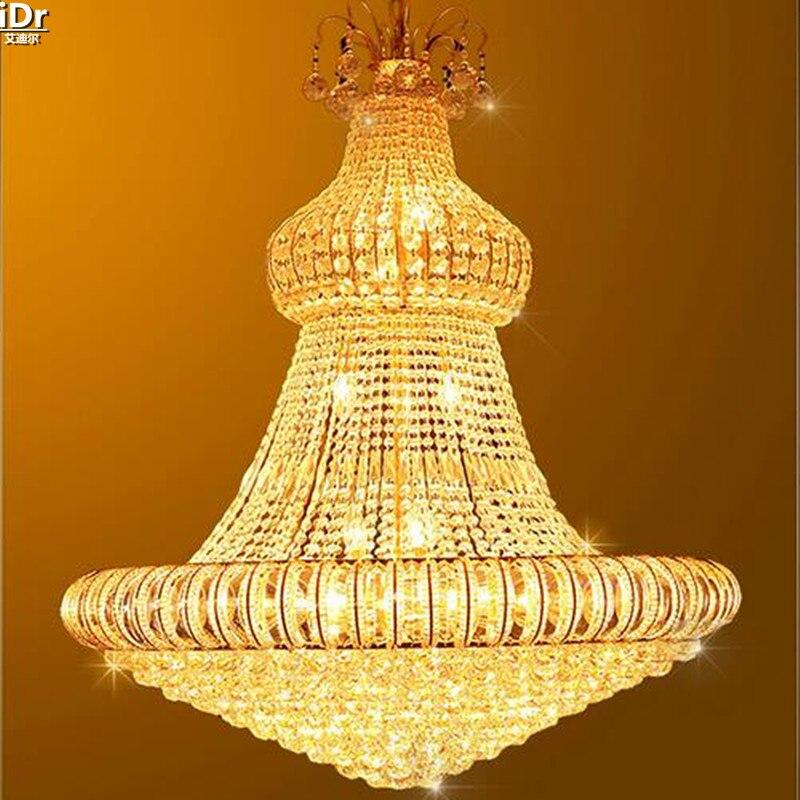 Kristall Licht Golden Yellow Scheinwerfer Lampe Moderne Wohnzimmer Doppeltreppe Lange Beleuchtung Gold Kronleuchter Lmy