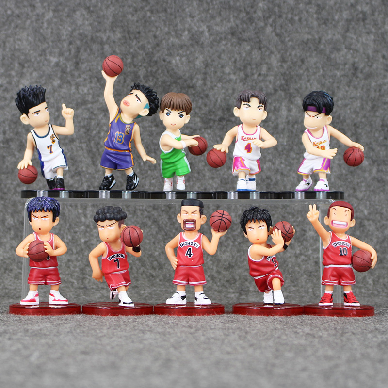 Free Shipping 2Style 5pcs/lot SLAM DUNK Shohoku Basketball Player Anime Figure Doll Hanamichi Sakuragi Rukawa Kaede image