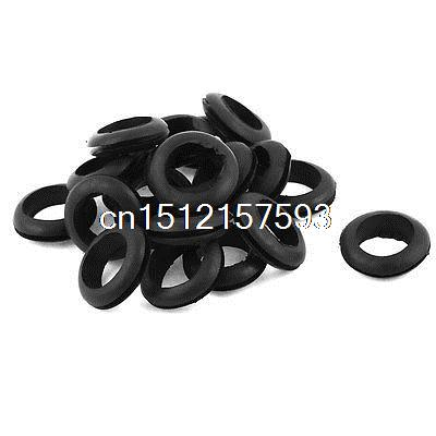 20 x Black Rubber 20mm Open Hole Ring Dual Side Cable Wiring Grommet цена