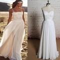 Vintage Bohemia Beach Wedding Dress 2016 Sexy Strapless Lace Vestido De Noiva Summer Chiffon Boho Bridal Dresses