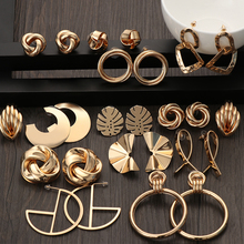 2019 Fashion Classic Gold Color Twisted Love Knot Stud Earrings For Women Simple Geometric Small Earrings Wedding Bridal Jewelry-in Stud Earrings from Jewelry & Accessories on AliExpress