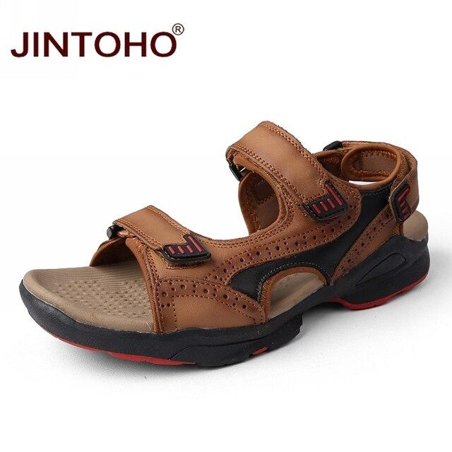 db11614c9c454 JINTOHO Fashion Beach Summer Men Sandals High Quality Genuine Leather Beach  Shoes Male Leather Sandals 2018 Sandalias Men