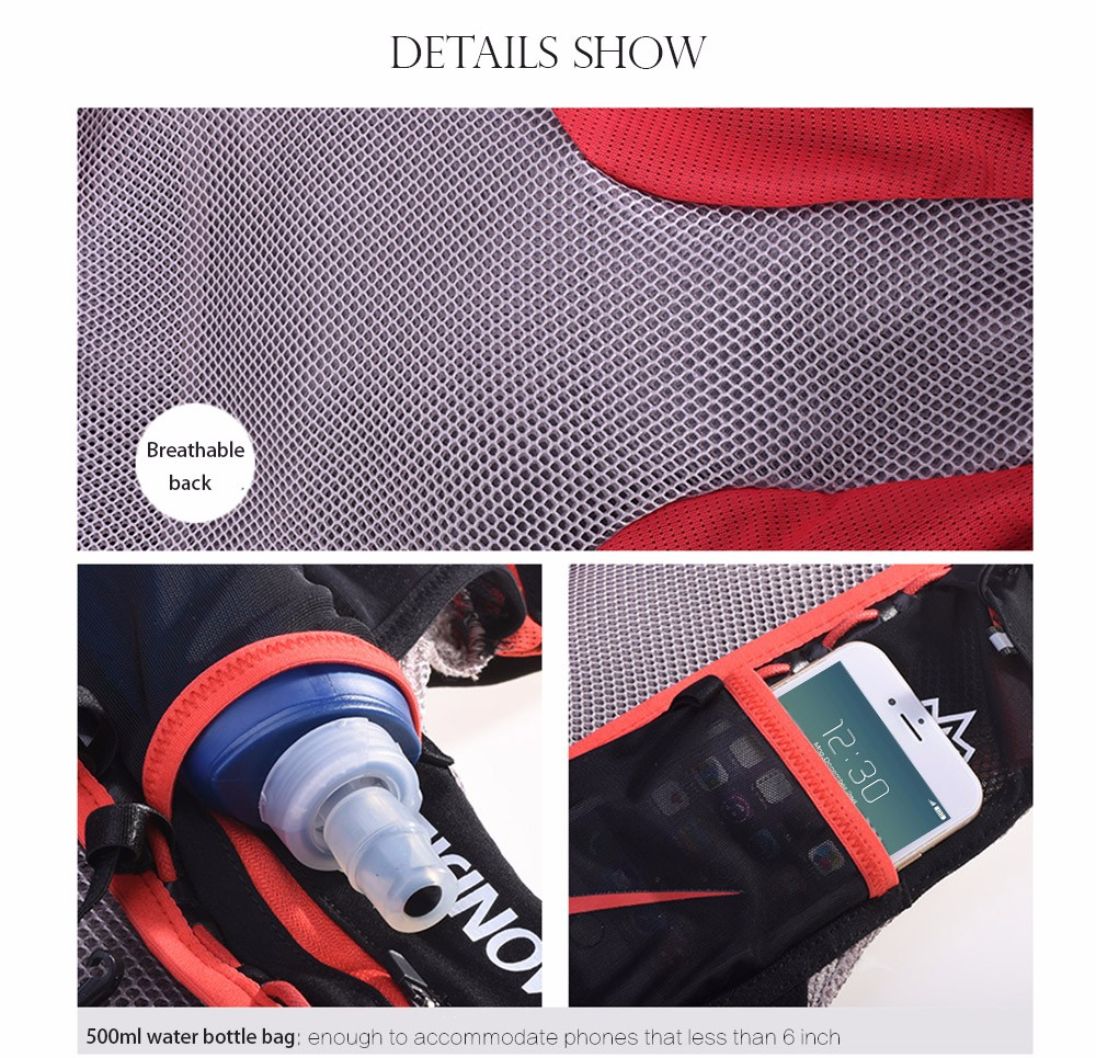 Foto of details show breathable hydration vest pack for cycling. Outdoor hydration rucksack 1.5L for men