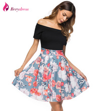 Фотография Berydress Cute Women Sexy Cocktail Party Off the Shoulder with Short Sleeves Patchwork Floral Print Skater Dress Short Vestidos