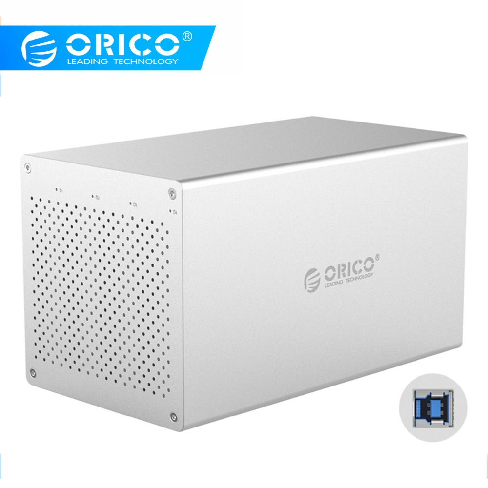 ORICO 4 Bay SATA To USB3.0 3.5'' Hard Drive Enclosure Aluminum Support 40TB Storage 5Gbps 12V Power Adapter HDD Docking Station