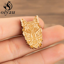 Oly2u Wood Animal Fox Brooch Pins For Women Enamel Pin Denim Jackets Pin Buckle Shirt Badge Fashion Jewelry Gift for Kids bijoux(China)