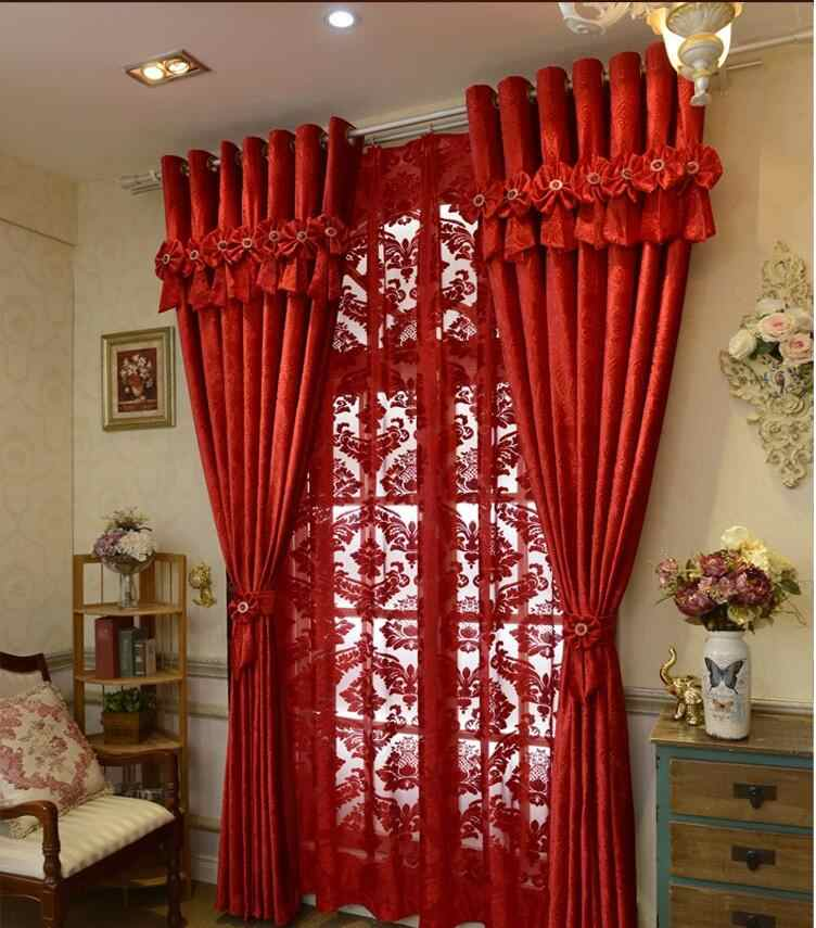 Brand New Custom Made Luxury Italian Wool Curtains Living Room Red Joyous Wedding Eco Friendly Flocked Fabrics