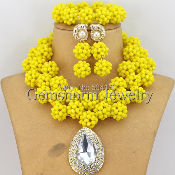Hecho a mano Collar de La Boda de Nigeria Perlas Africanas Joyería Conjunto Amarillo Rhinestone Joyería Conjunto Envío Gratis GS142