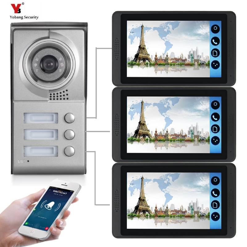 7 Inch Wired Wifi Video Door Phone Doorbell Intercom Entry System Camera Night Vision Remote APP Unlocking