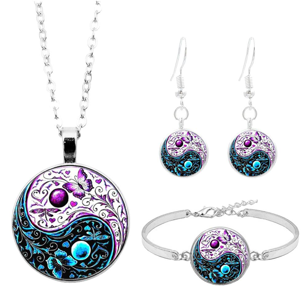 wholesale pallets cheap Women Necklaces Round Pendant Chain Necklace rose gold diamond necklace and earring set Dangle Earrings Bracelet Statement Jewelry Set black friday deals 2018 at walmart Jewelry Sets cp74923267