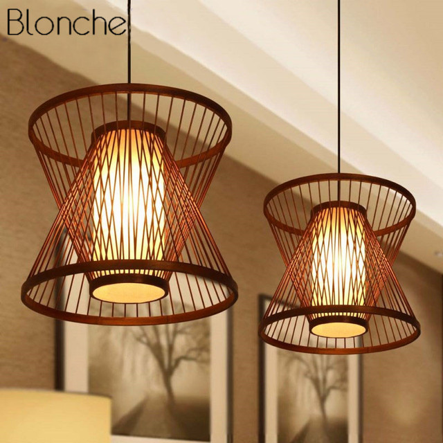Bamboo Pendant Lights Led Restrant Hanging Lamp for Kitchen Living Room Home Decor Country Light Fixtures Suspension Luminaire