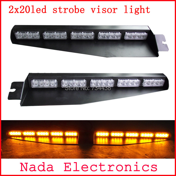 2x20led Police car visor light led strobe lights auto dash board windshield lamp car warning light RED BLUE WHITE AMBER GREEN s2 shovels ray bead 96w led flashing police strobe intimidator windshield dash light